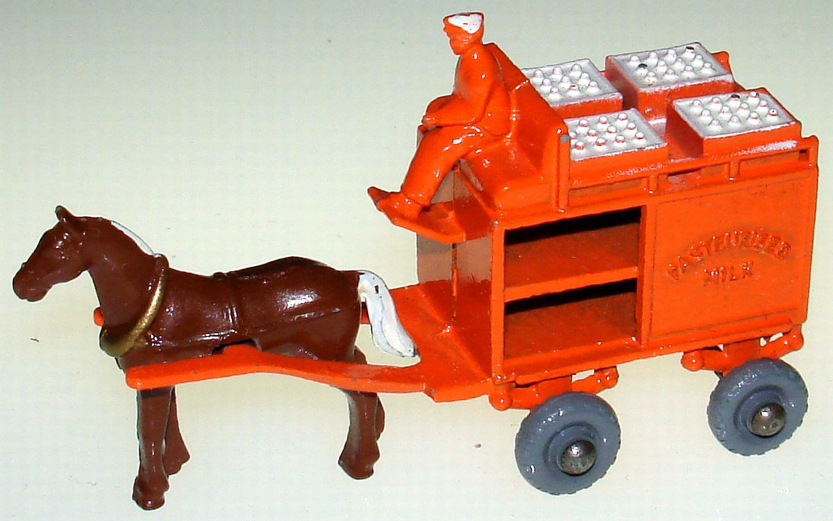 Vintage Matchbox Moko Lesney Grey Wheel Horse Drawn Milk Float Wagon 7