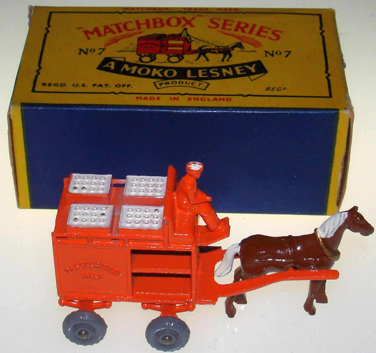 Vintage Matchbox Moko Lesney Grey Wheel Horse Drawn Milk Float Wagon 7 Box