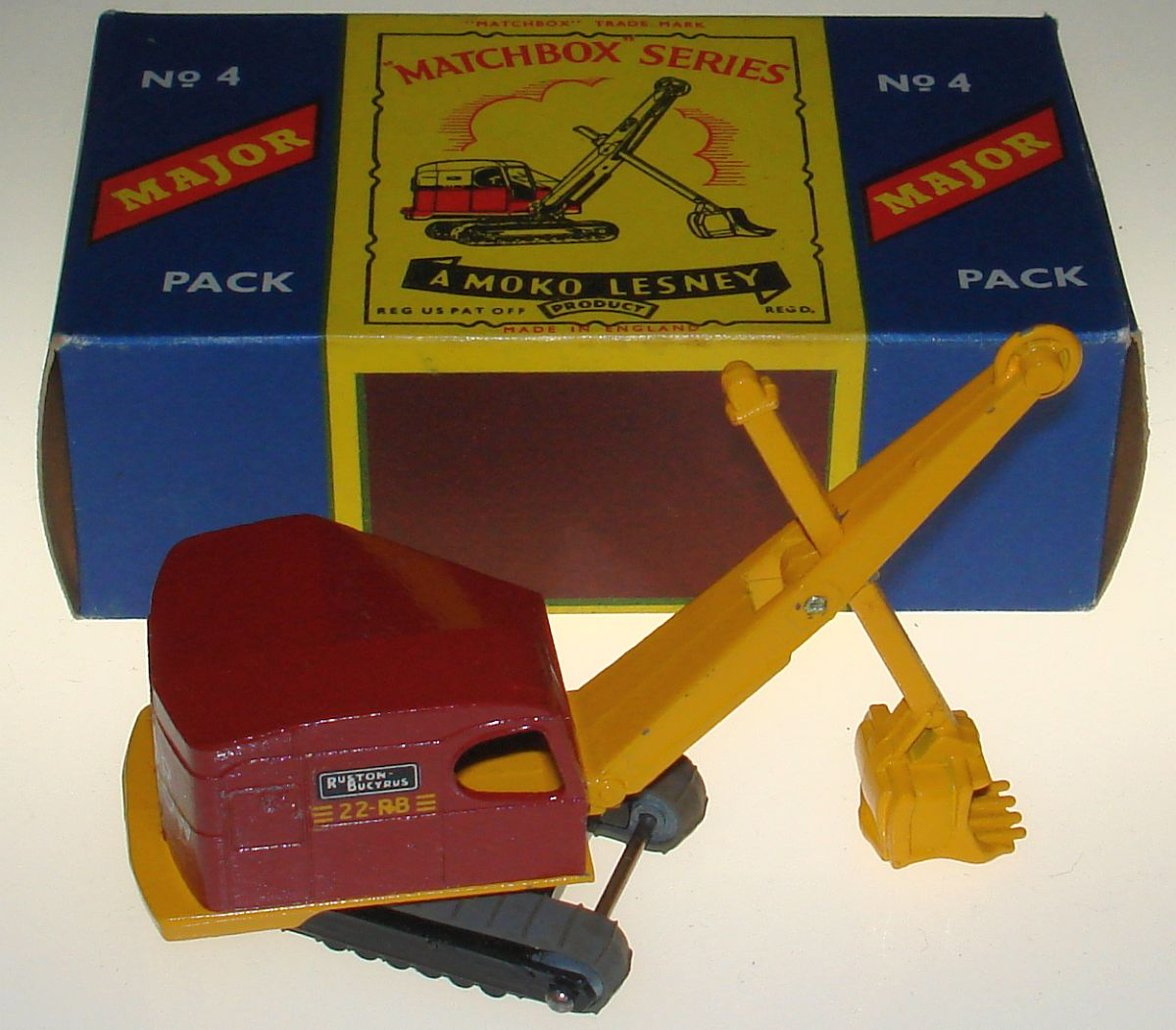 Vintage Matchbox Moko Lesney Grey Wheel Ruston Bucyrus Steam Shovel M4 Box