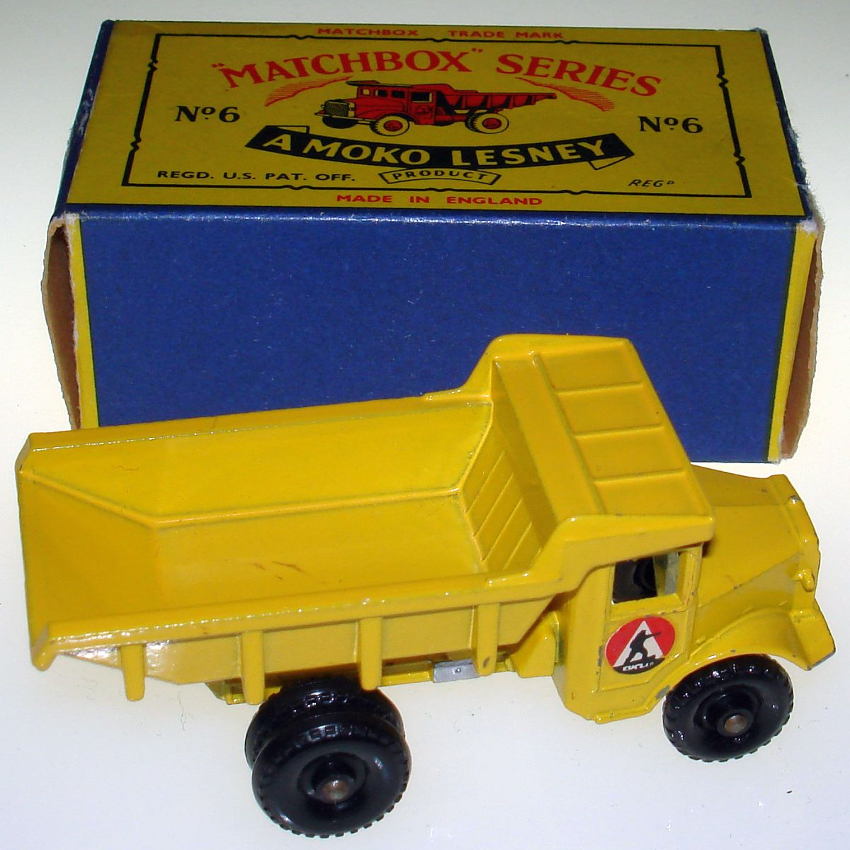 Vintage Matchbox Moko Lesney Black Wheel Quarry Truck 6 Box