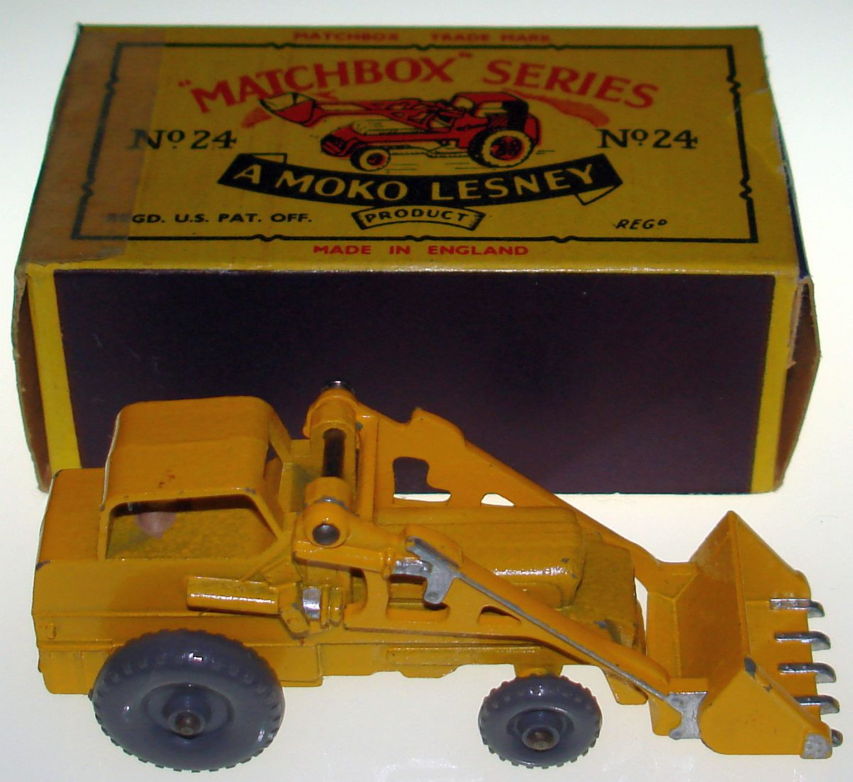 Vintage Matchbox Moko Lesney Grey Wheel Weatherill Hydraulic Excavator 24 Box