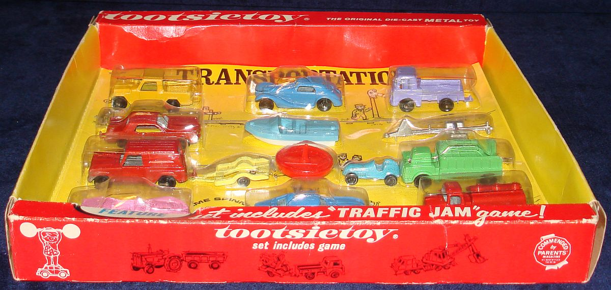 Vintage Tootsietoy Diecast Metal Transportation Vehicles Set 1700 Box Bottom Panel