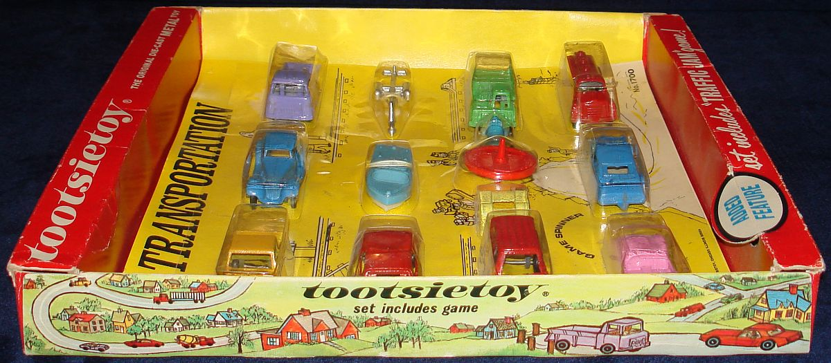 Vintage Tootsietoy Diecast Metal Transportation Vehicles Set 1700 Box Left Side Panel