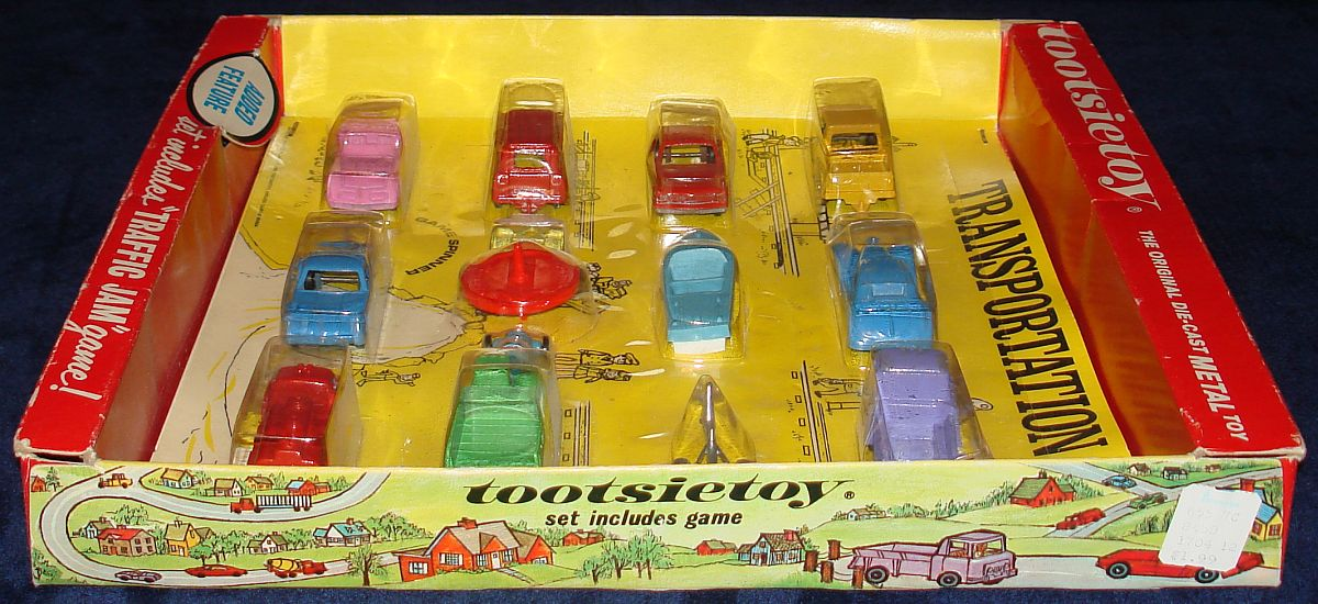 Vintage Tootsietoy Diecast Metal Transportation Vehicles Set 1700 Box Right Side Panel