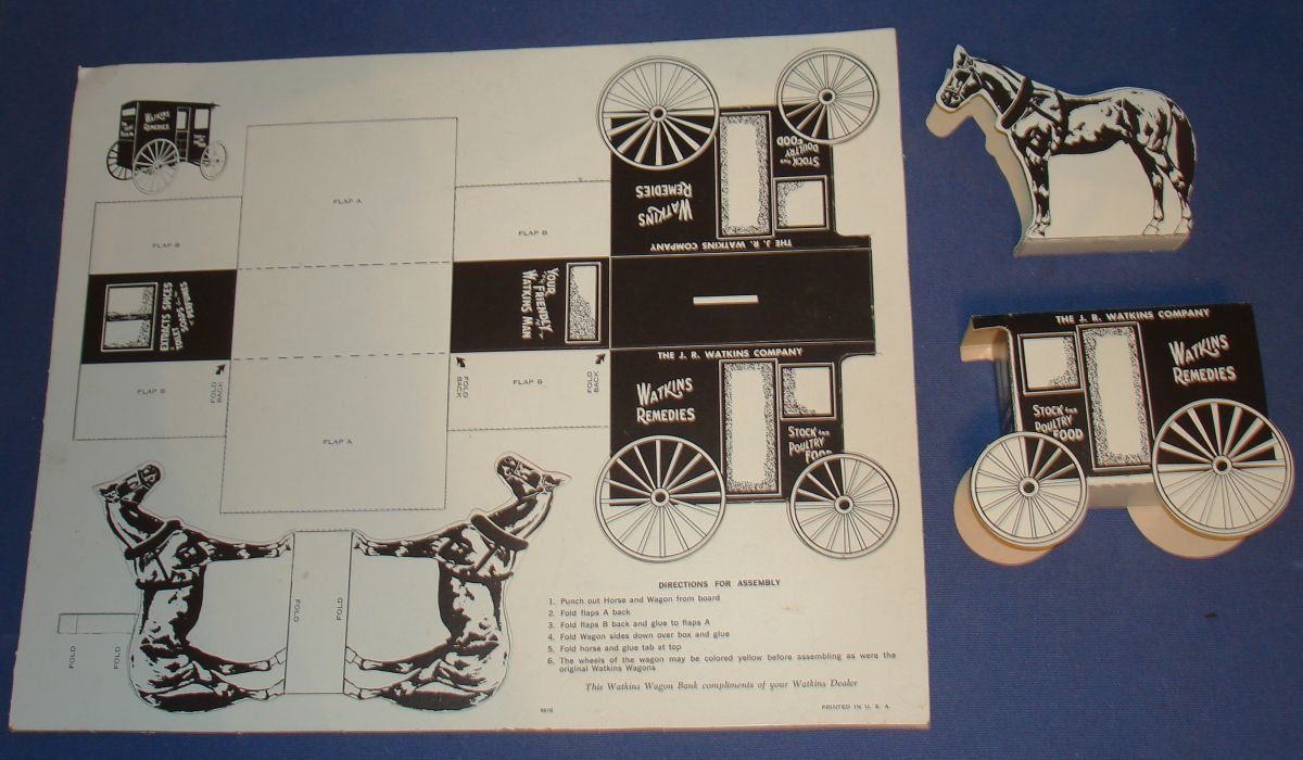 JR Watkins Company Horse & Wagon Paper Toy Punch Out Bank