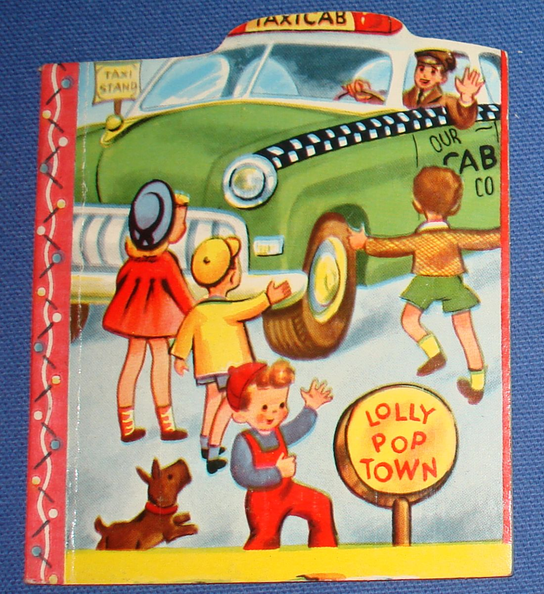 Vintage 1950 Samuel Lowe Company Lolly Pop Town Shaped Story Books Taxi Cab 587-5