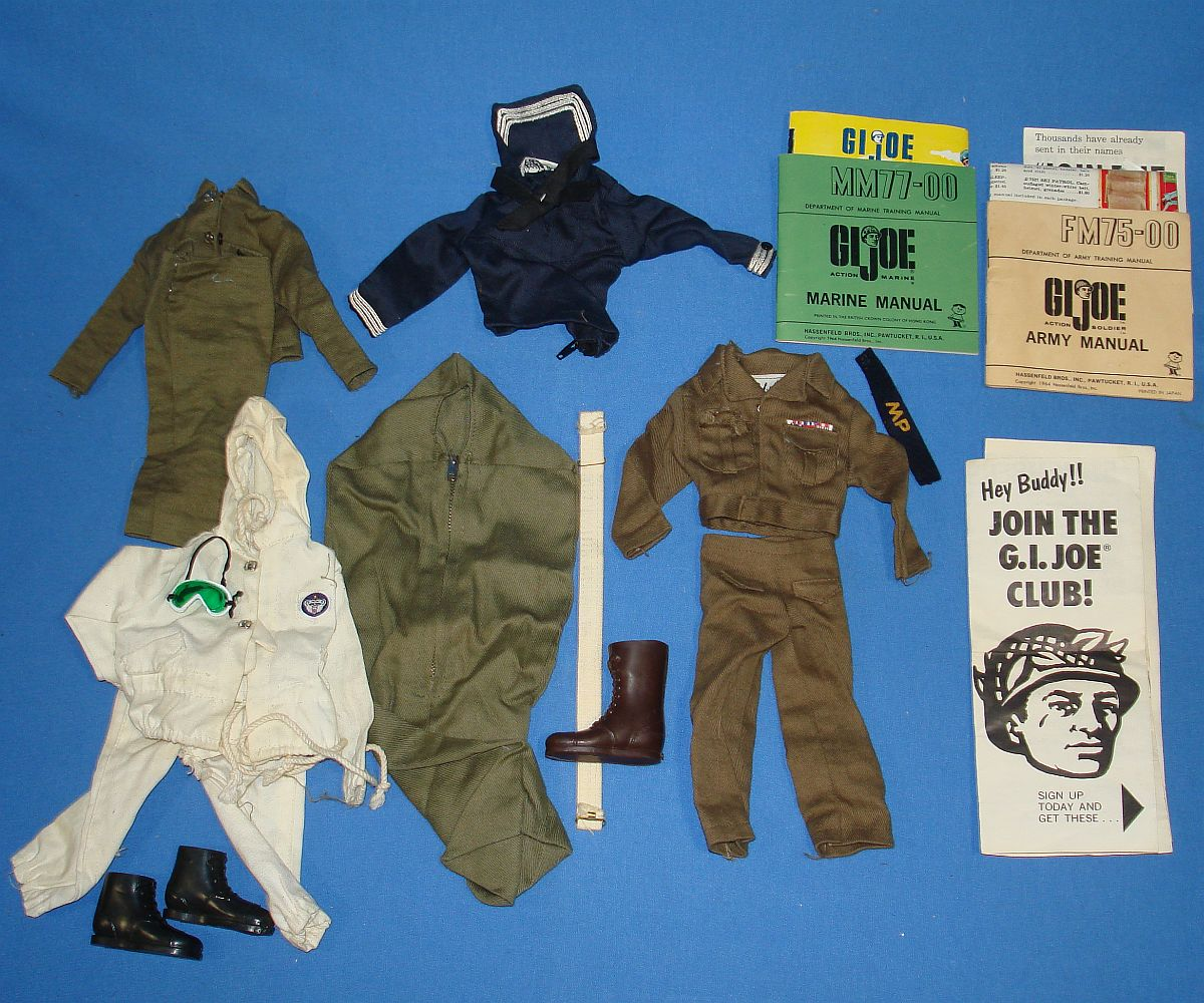 VINTAGE HASBRO GIJOE ACTION MARINE SAILOR SOLDIER UNIFORMS MANUALS LOT SKI PATROL