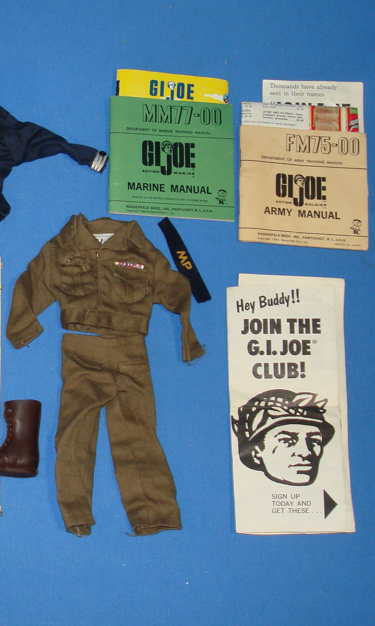 Vintage Hasbro GIJOE Action Marine Sailor Soldier Uniforms Manuals Lot