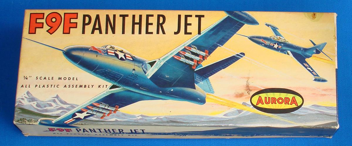 Aurora F9F Panther Jet Plastic Airplane Model Kit Box