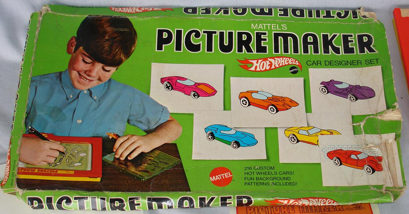 Mattel Hot Wheels 1969 Picture Maker Car Designer Drawing Set Box