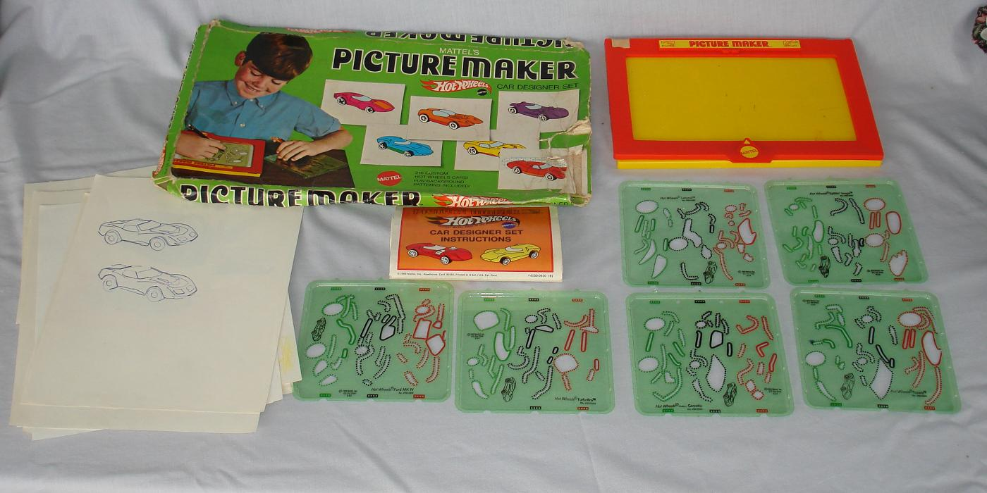 Mattel Hot Wheels 1969 Picture Maker Car Designer Drawing Set Contents