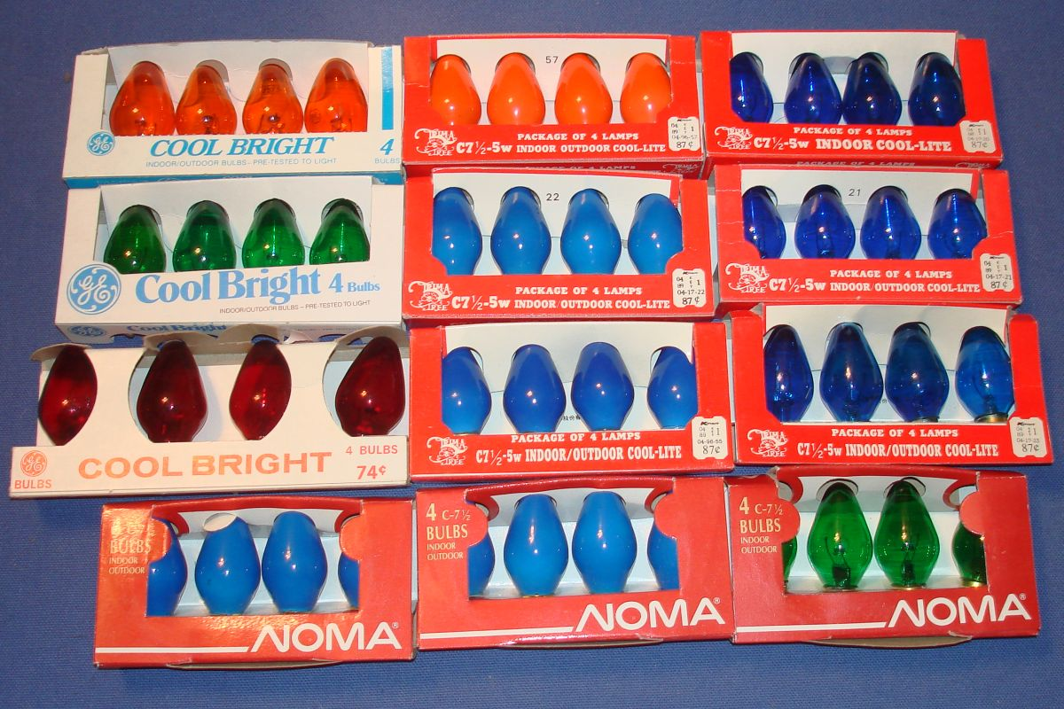 GE Noma Red Orange Green Blue Christmas Indoor Outdoor Light Bulbs
