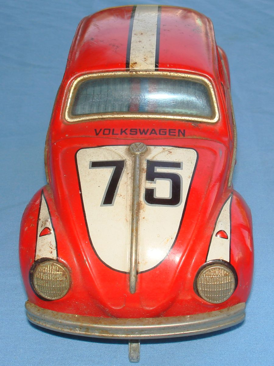 Taiyo Made In Japan German Volkswagen VW Battery Operated Tin Toy Car Hood Windshield