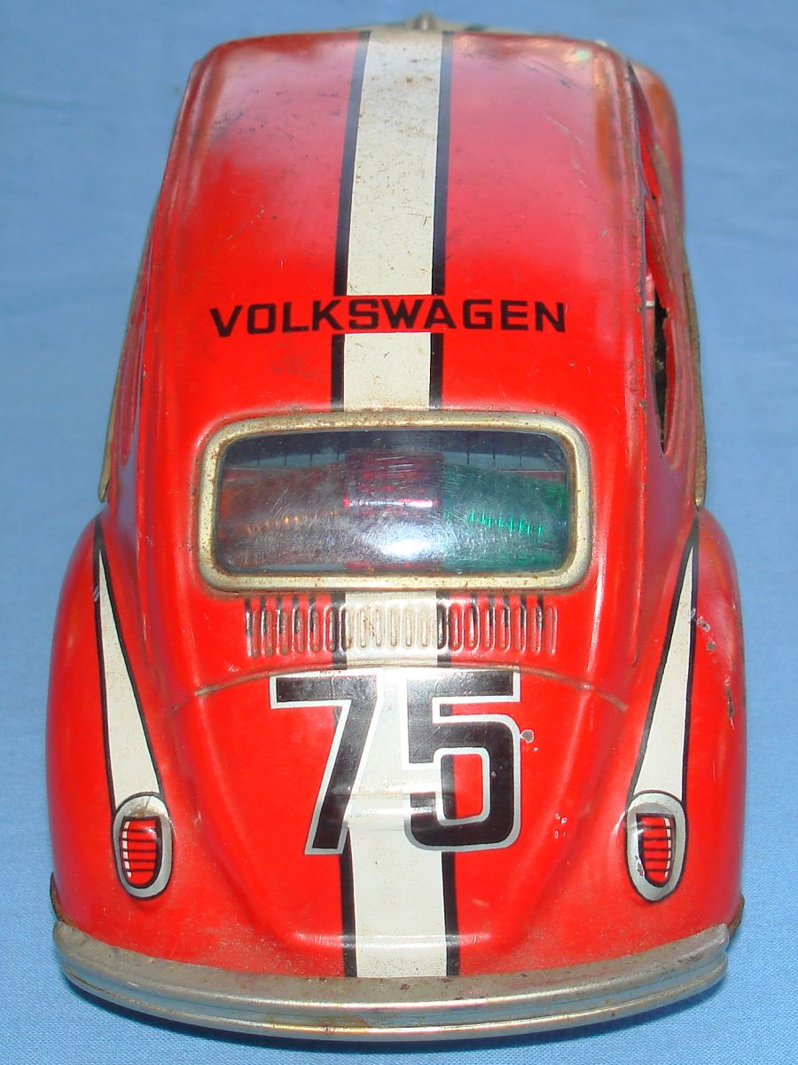 Taiyo Made In Japan German Volkswagen VW Battery Operated Tin Toy Car Trunk Roof