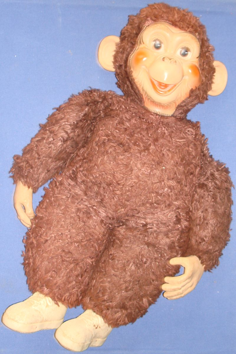 Vintage Rubber Vinyl Face Hands Feet Monkey Brown Plush Body