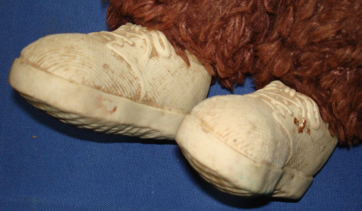 Rubber Vinyl Face Hands Feet Monkey Brown Plush Body Shoes Closeup