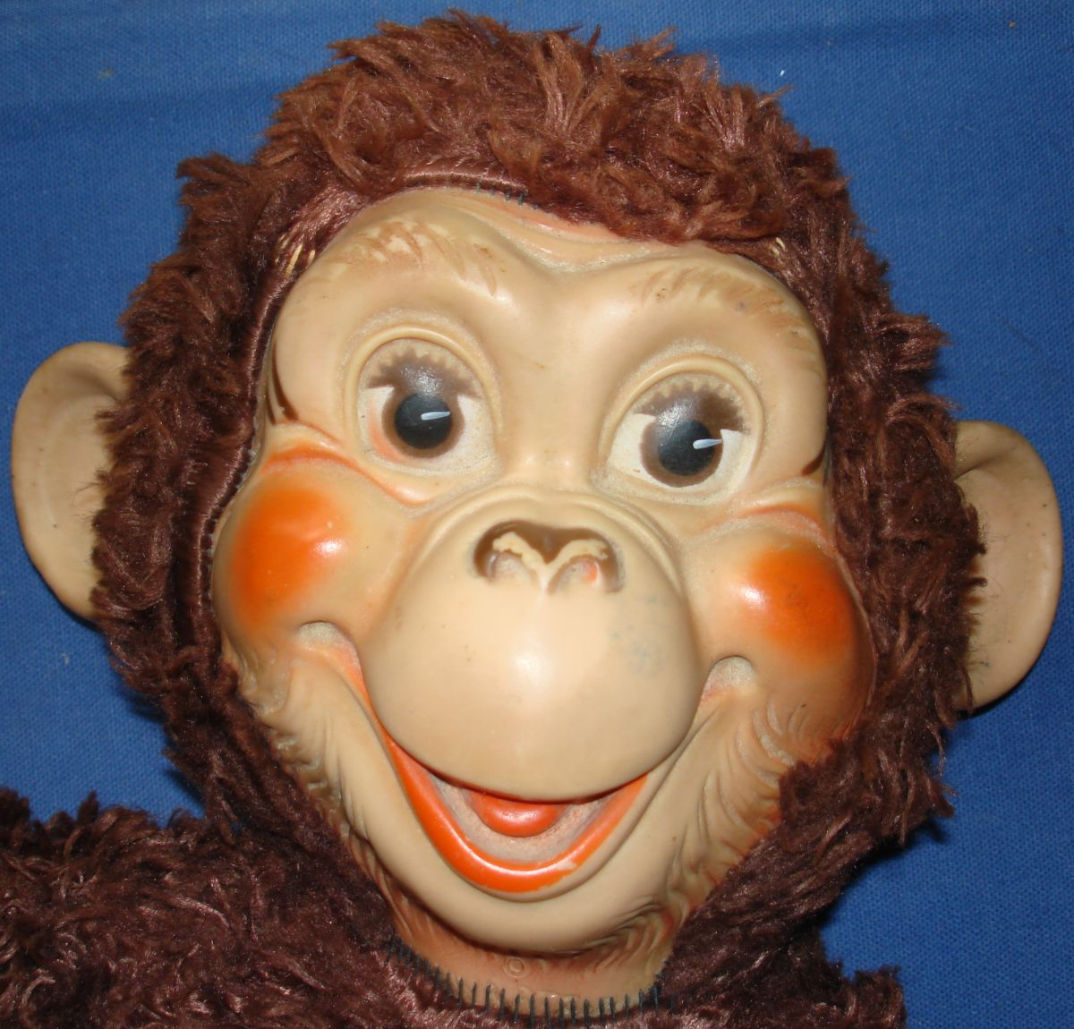 Rubber Vinyl Face Hands Feet Monkey Brown Plush Body Head Closeup