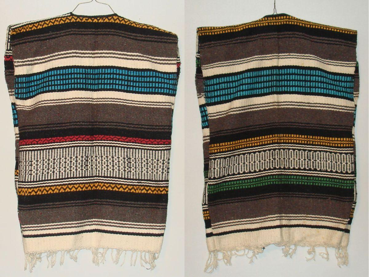 Vintage Unisex Western Native Mexican Wool Blanket Vests Fringe