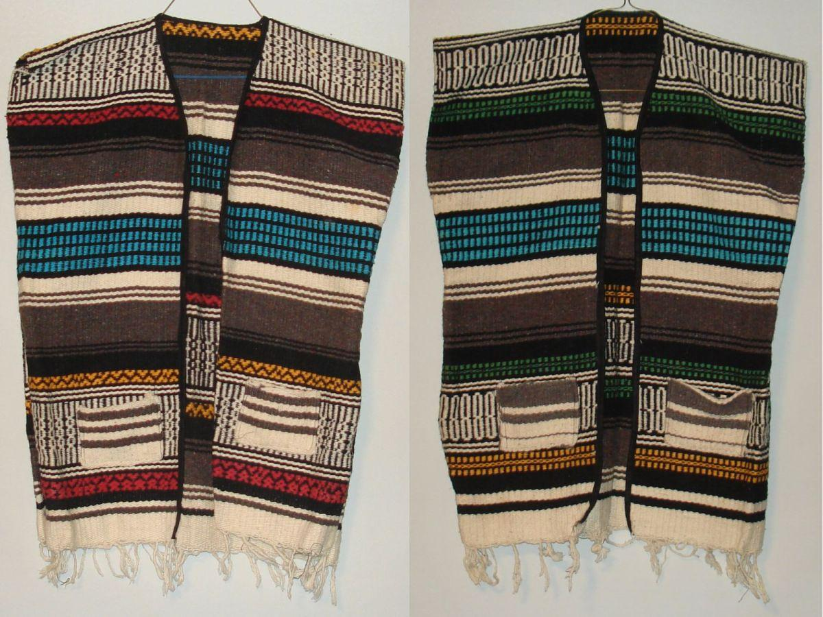 Vintage Unisex Western Native Mexican Wool Blanket Vests Pockets